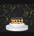 happy new year banner with gold confetti vector image vector image
