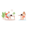 home office man woman work or study from house vector image