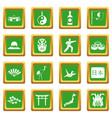 japan icons set green vector image vector image