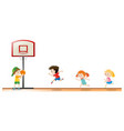 kids playing basketball at the court vector image