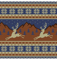 knitted wool tapestry with deer vector image vector image
