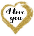 lettering i love you in frame heart shape from vector image vector image