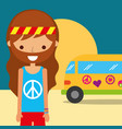 man hippie van traditional free spirit vector image vector image