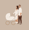 married couple with bacarriage vector image vector image