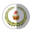 middle shadow sticker colorful with olive crown vector image vector image