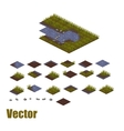 Pixel art river tilesets Water grass and land vector image