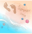 postcard print beach summer party with footprints vector image vector image