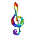 rainbow musical key vector image vector image