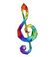 rainbow musical key vector image