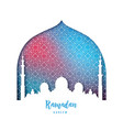 ramadan kareem beautiful greeting card mosque vector image
