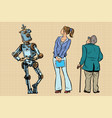 robot girl and old viewers are back vector image vector image