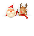 santa claus and reindeer on billboard vector image vector image