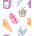 seamless decorative pattern with ice cream cones vector image vector image