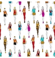 Seamless pattern of women in casual outfits vector image