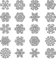 set decorative outlines snowflakes vector image vector image