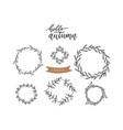 set doodle floral line leaf branches circle vector image