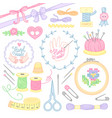 sewing embroidery handmade vector image vector image