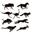 silhouettes running animal logo vector image vector image