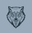 straight looking white wolf tattoo style vector image vector image