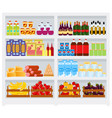 supermarket shelf with goods fruits and vector image vector image