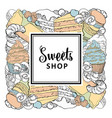 sweets shop square banner with sweet baked vector image vector image