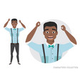 the black african american guy is happy and vector image