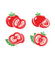 tomato icon set isolated vegetables vector image