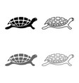 turtle tortoise icon set grey black color outline vector image vector image
