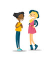 two young multiracial girls talking and laughing vector image vector image