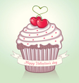 valentine cupcake vector image vector image