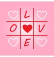 Valentines day original card with tic-tac-toe vector image vector image