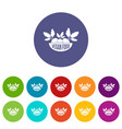 vegan food icons set color vector image vector image