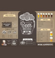 vintage beer menu design on cardboard restaurant vector image vector image