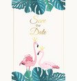 wedding invitation flamingo couple monstera leaves vector image vector image