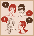 Woman characters retro comics style vector | Price: 1 Credit (USD $1)