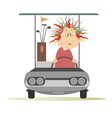 Woman in the golf cart vector image vector image