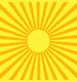 Yellow sun with orange rays vector image