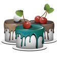 a set of three cupcakes each cupcake is a separate vector image