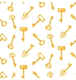 Gold keys seamless pattern on white Retro vector image