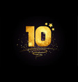 10 ten number icon design with golden star and vector image vector image