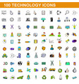 100 technology icons set cartoon style vector image vector image