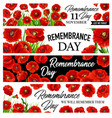 11 november remembrance day banners with poppies vector image vector image