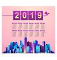 2019 calendar night city vector image vector image