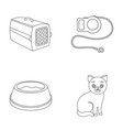 a container for an animal a roulette leash a vector image vector image
