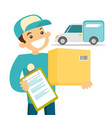 a courier delivering a package vector image