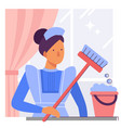 a maid or female cleaner with a bucket and mop vector image vector image