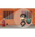 A thief at the jail vector image