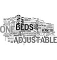 adjustable beds text word cloud concept vector image vector image