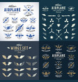 airplane retro labels construction bundle plane vector image