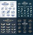 airplane retro labels construction bundle plane vector image vector image